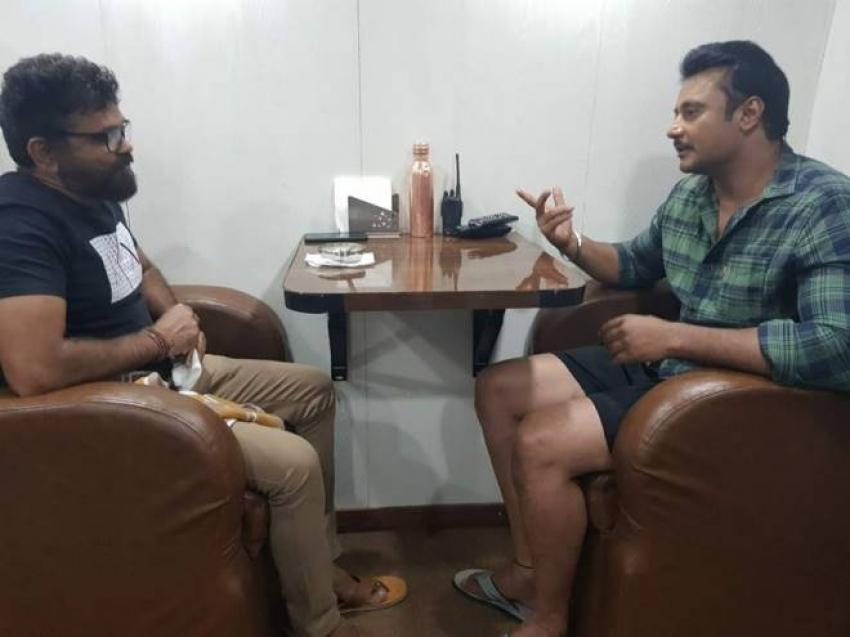 Telugu Director Sukumar Meet Kannada Actor Darshan Photos