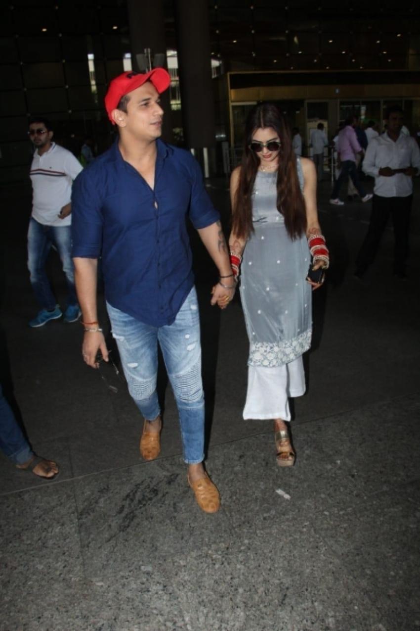 Prince Narula and Yuvika Chaudhary Spotted At Mumbai Airport Photos