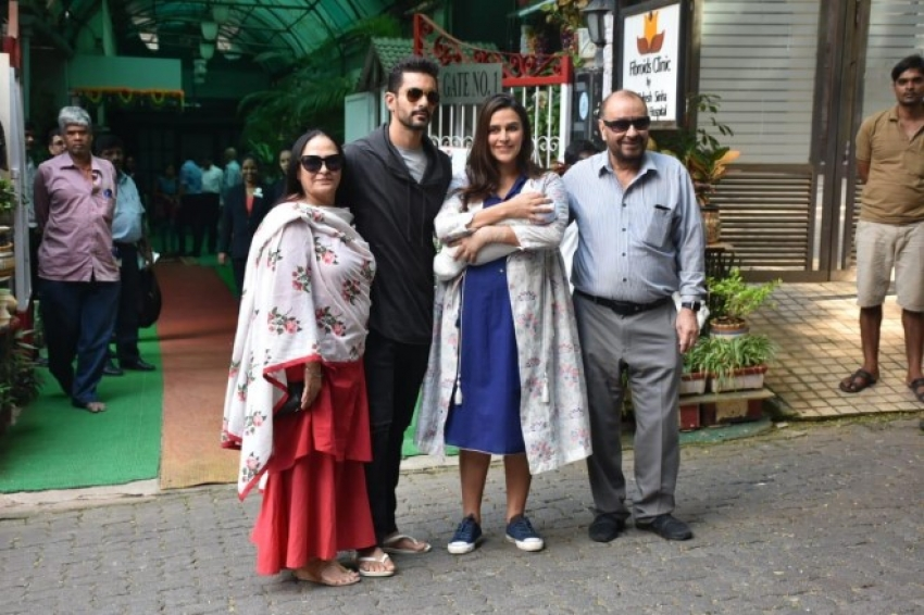 Neha Dhupia And Angad Bedi Spotted Outside The Hospital With Their Baby Girl Mehr Dhupia Bedi Photos