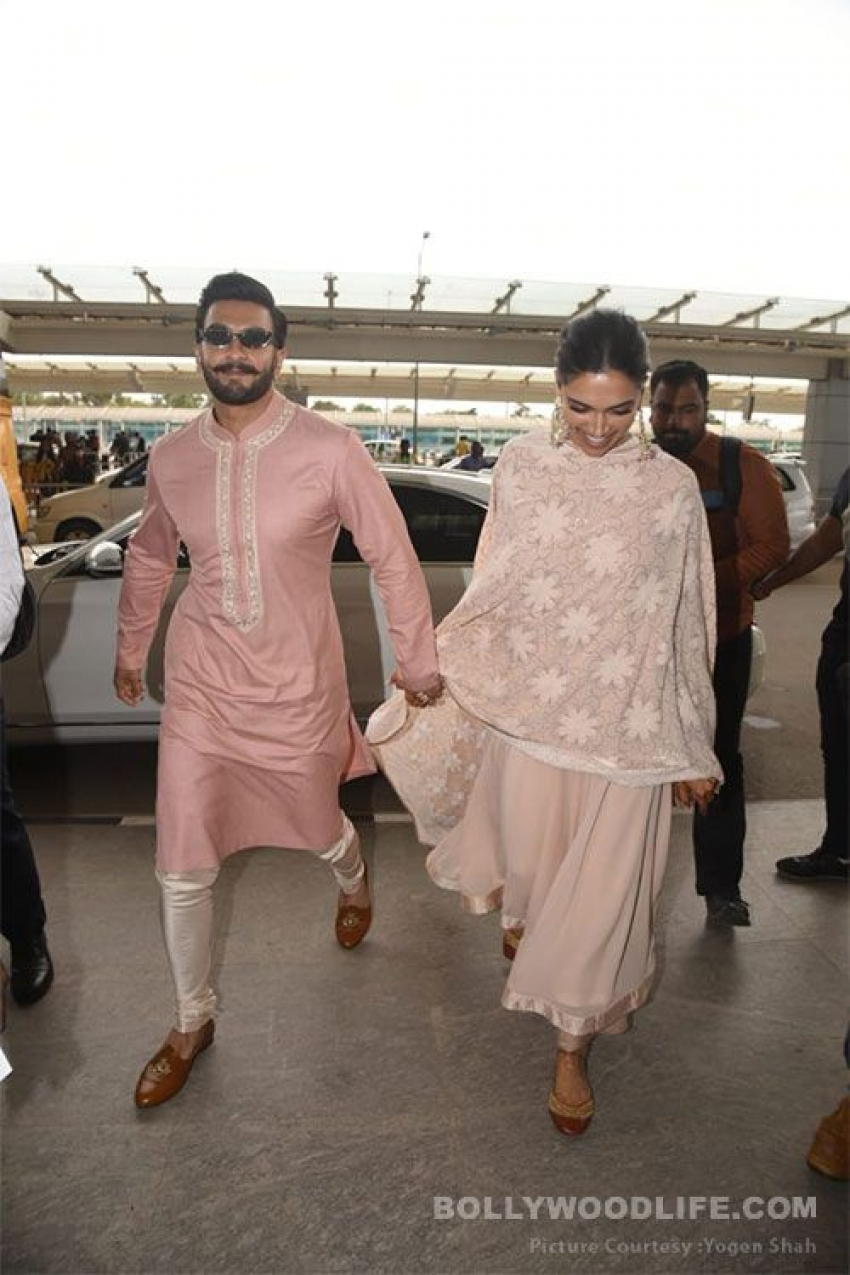 Ranveer Singh and Deepika Padukone snapped At Bangalore airport Photos
