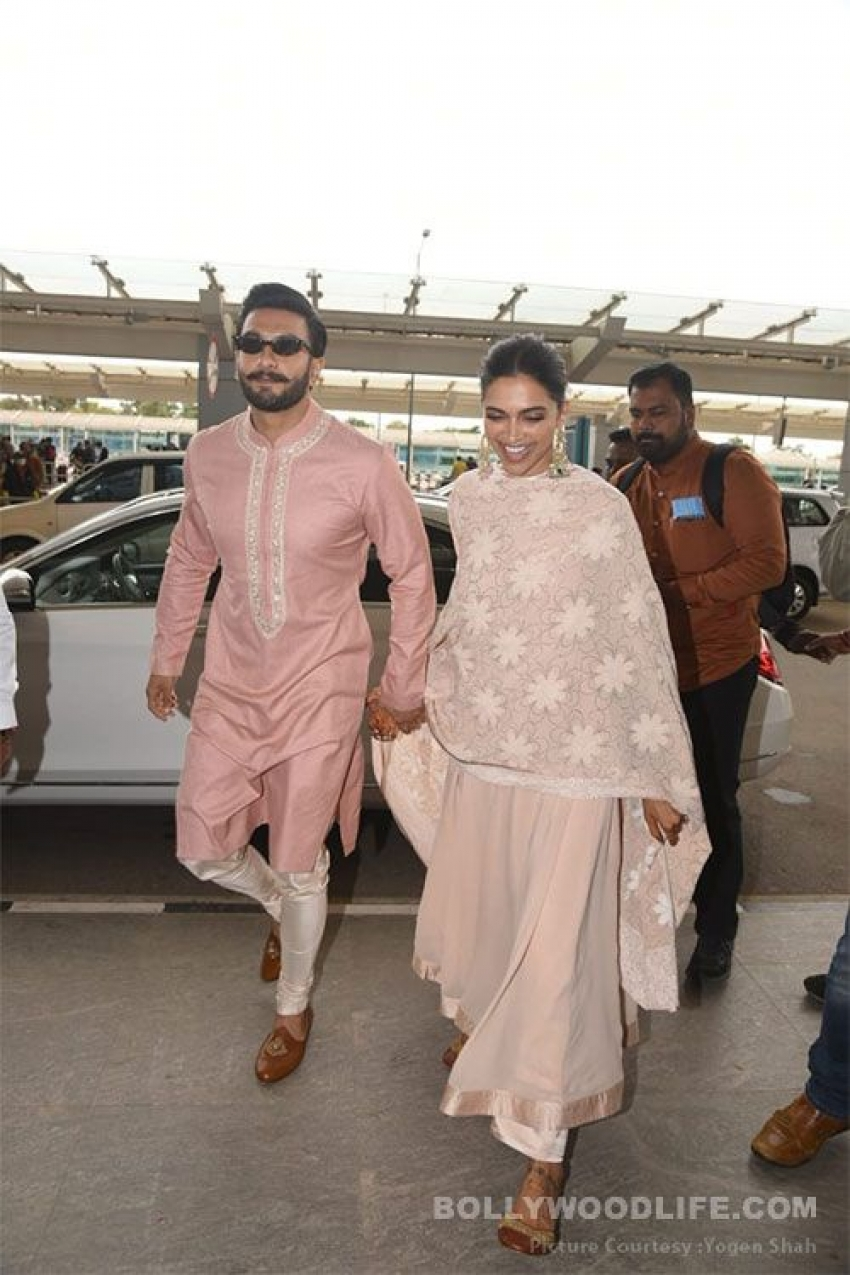 Ranveer Singh and Deepika Padukone snapped At Bangalore airport Photos