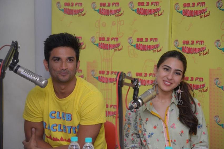 Sara Ali Khan and Sushant Singh Rajput promote Kedarnath at a radio mirchi Photos