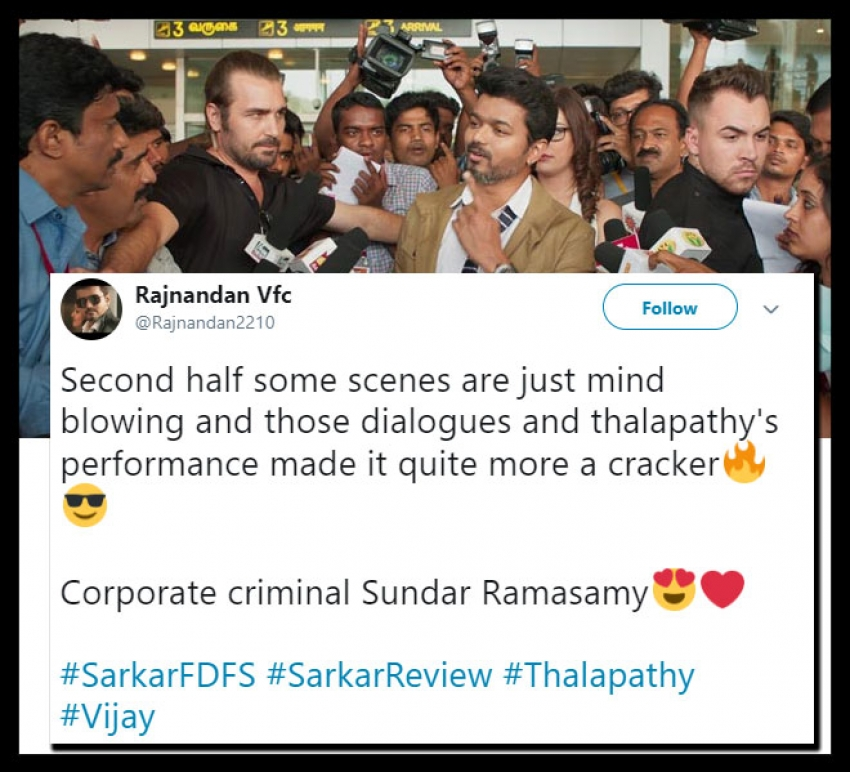 Vijay's Sarkar Social Media Audience Reaction Photos