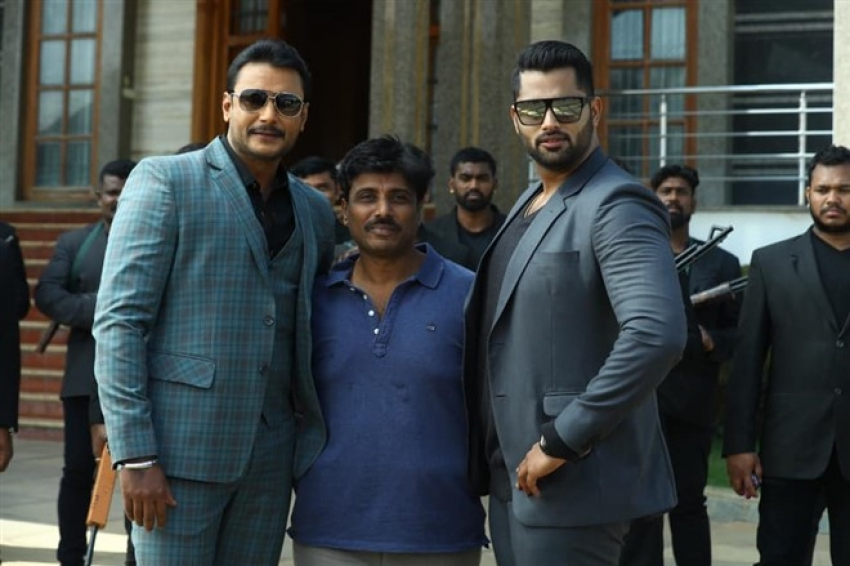 Actor Darshan in Amar movie shooting set Photos