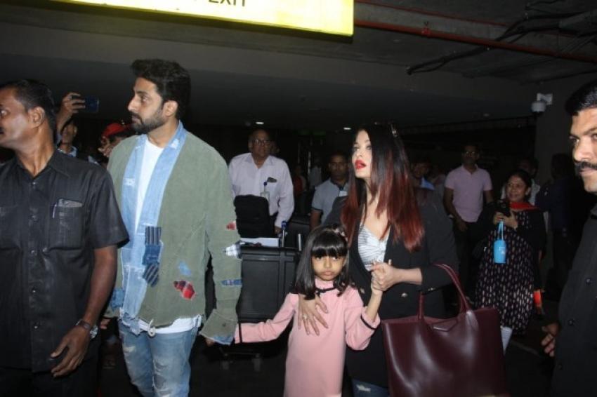 Aishwarya Rai Bachchan & Abhishek Bachchan with Daughter Aaradhya Bachchan Spotted At Mumbai Airport Photos