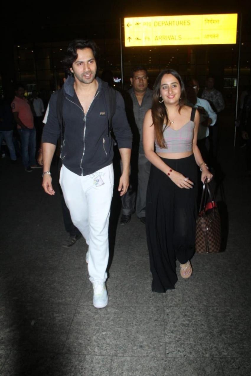 Varun Dhawan with Natasha Dalal At Mumbai Airport Photos