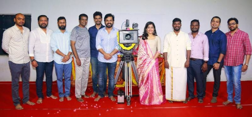 Karthi And Rashmika Mandanna New Movie Pooja Photos