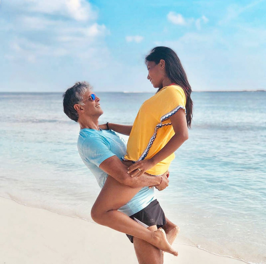 Milind Soman and Ankita Konwar  Romantic Beach Vacation Photos