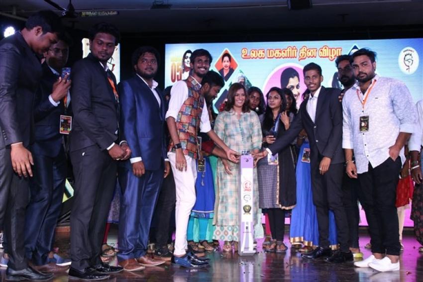 Varalaxmi Sarathkumar Celebrated Her Birthday At DG Vaishnav College Photos