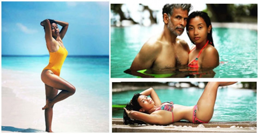 Milind Soman and Ankita Konwar Romantic Beach Vacation Photos