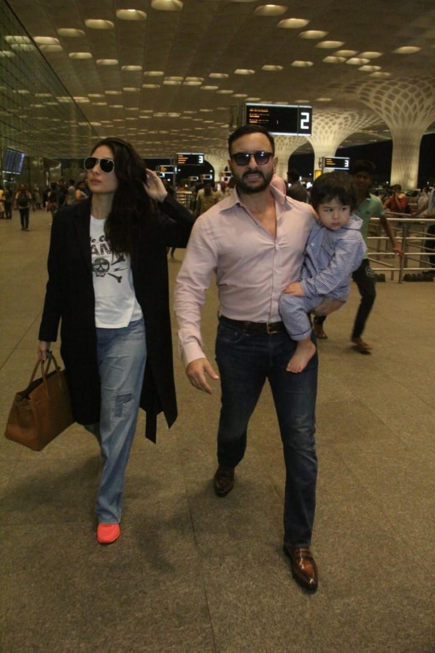 Kareena Kapoor Khan, Saif Ali Khan with Taimur Ali Khan Leave For London Photos