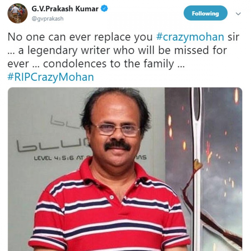 Celebs Pay Last Respect To Crazy Mohan On Social Media Photos