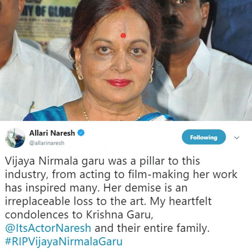 Celebs Pay Last Respect To Vijaya Nirmala Garu On Social Media Photos