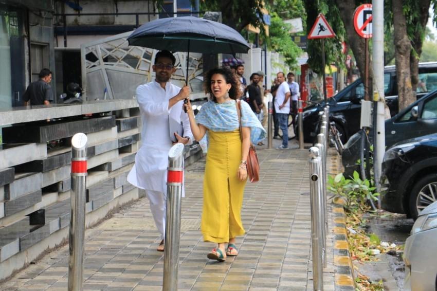 Sanya Malhotra Snapped at Mukesh Chhabra office with Vikrant Massey Photos