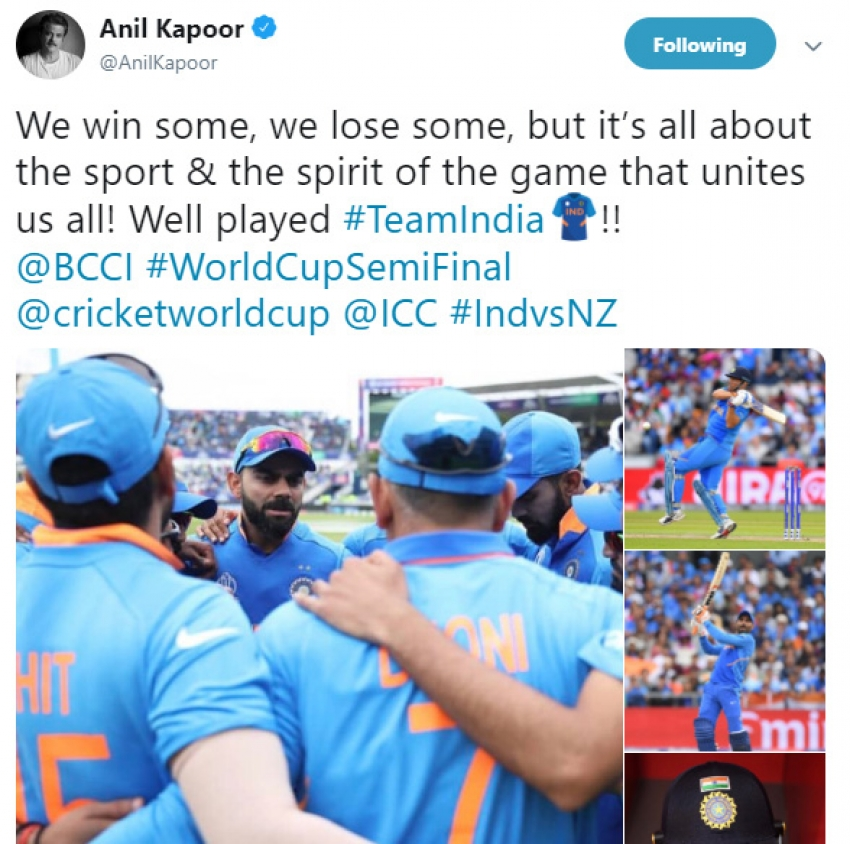 Celebs Reacts After India Loosing To New Zealand In Semi Final CW2019 Photos