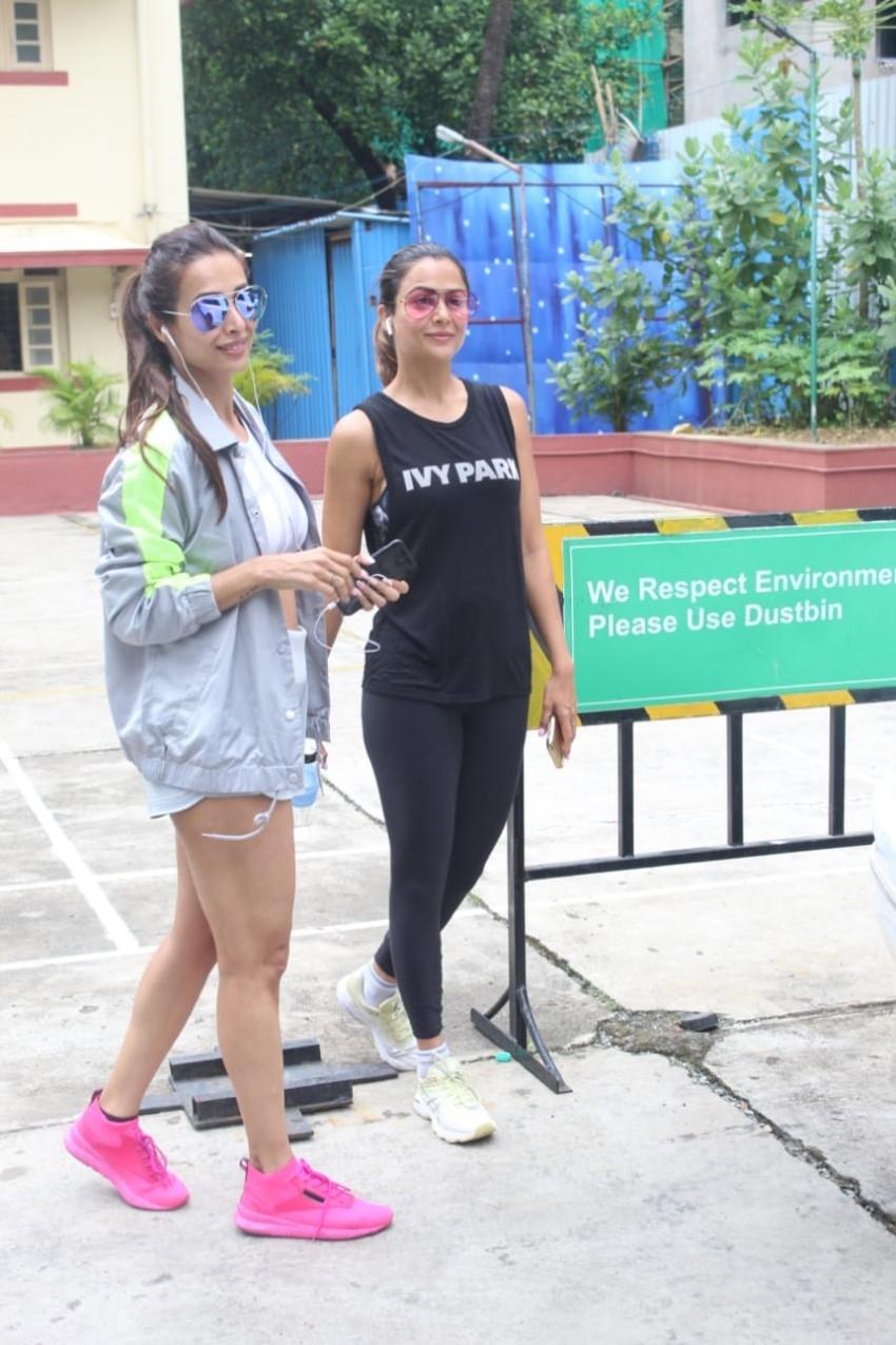 Malaika Arora and Amrita Arora snapped at I Think Fitness Photos
