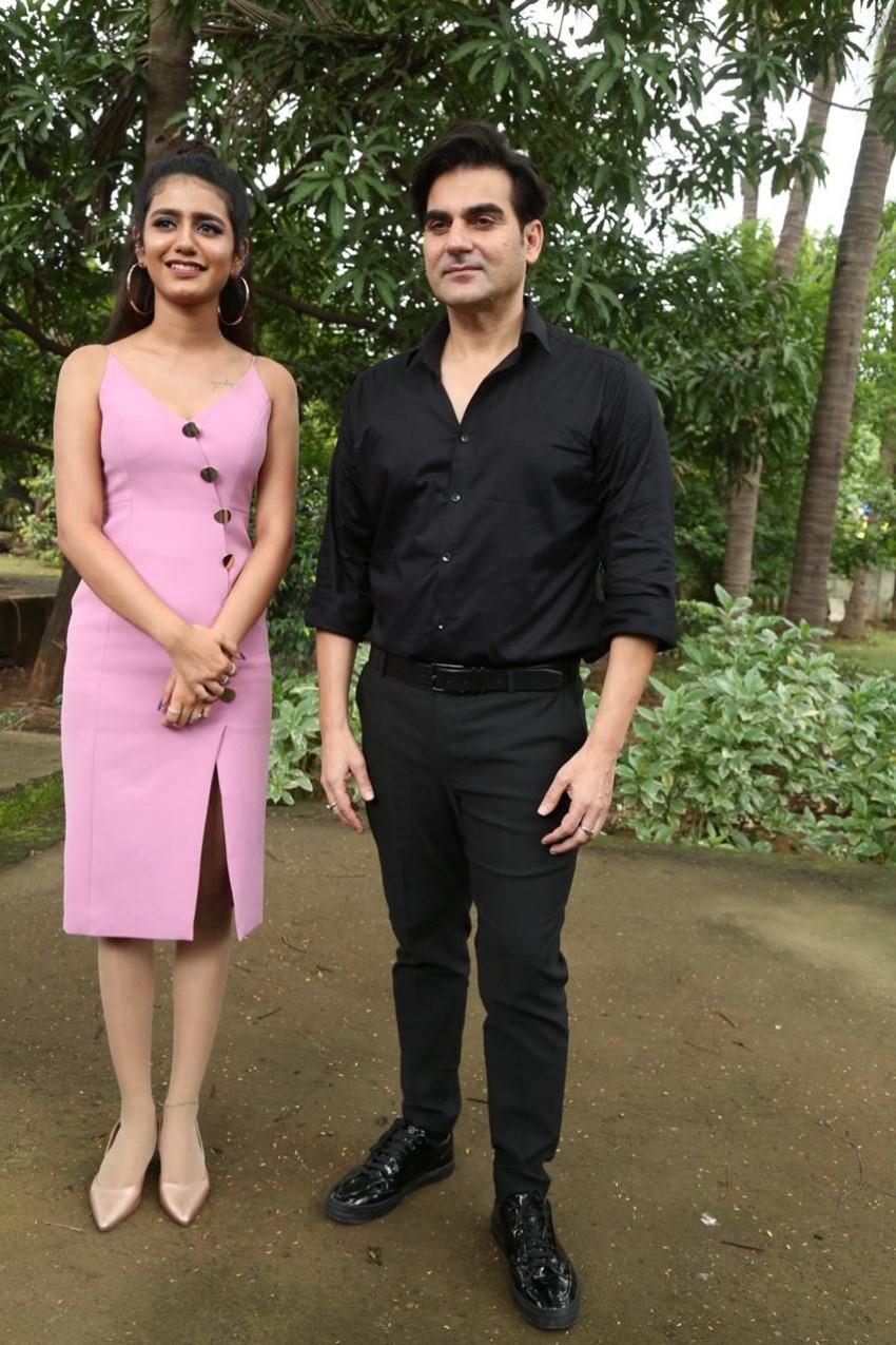 Priya Prakash Varrier and Arbaaz Khan on sets of Sridevi Bungalow Photos
