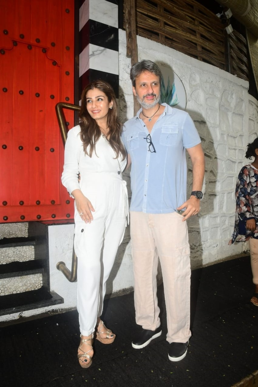 Raveena Tandon snapped with her family at Sancho's restaurant in Bandra Photos