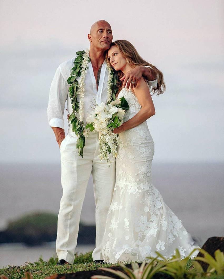 Dwayne The Rock Johnson Ties With Laura Hashian in Secret Hawaiian Wedding Photos