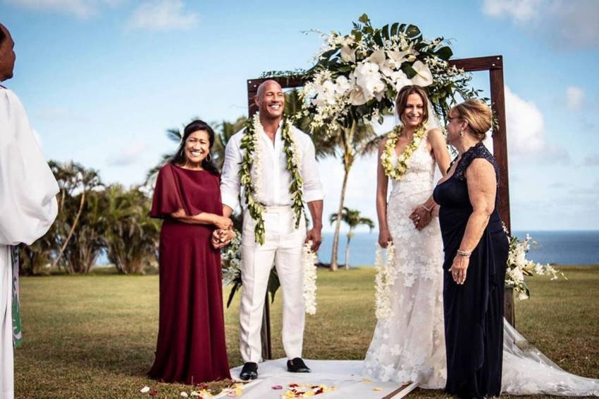 Dwayne The Rock Johnson Ties With Laura Hashian in Secret Hawaiian Wedding Photos