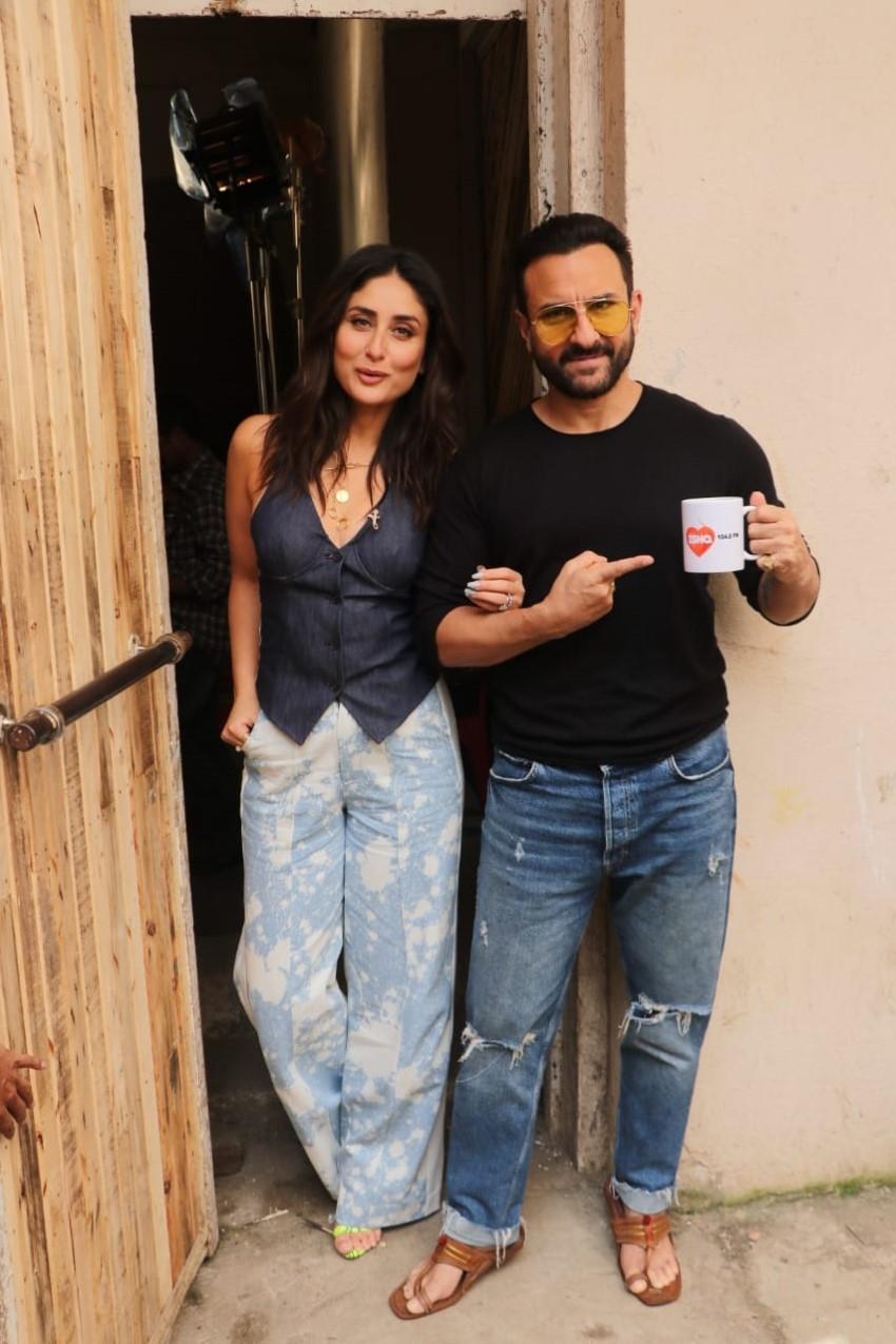 Kareena Kapoor Khan & Saif Ali Khan at Mehboob Studios in Mumbai for Ishq 104.8 FM Photos