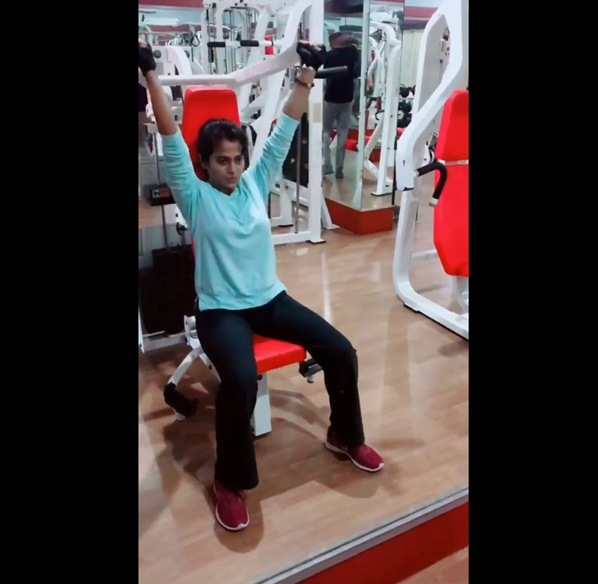 Ramya Pandian Workout  Photos