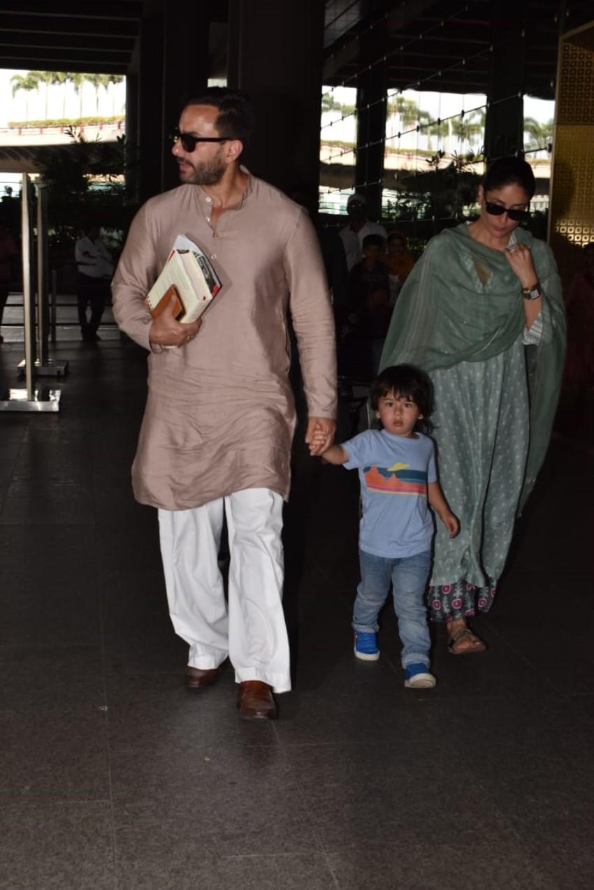 Saif Ali Khan, Taimur Ali Khan & Kareena Kapoor Khan snapped at Mumbai Airport Photos