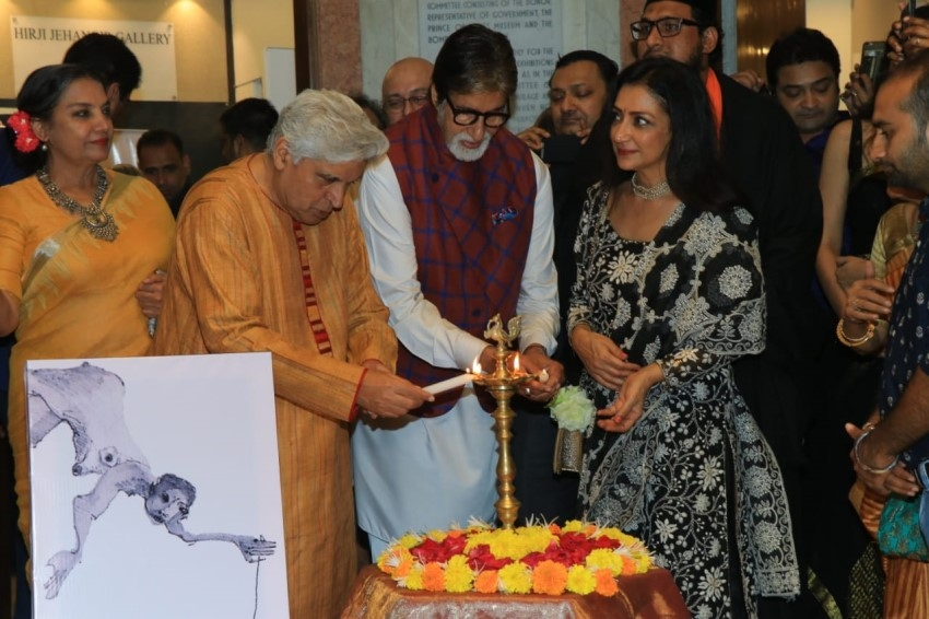 Amitabh Bachchan, Jaya Bachchan, Javed Akhtar & others At Aditya Singh's Exhibition Inauguration Photos