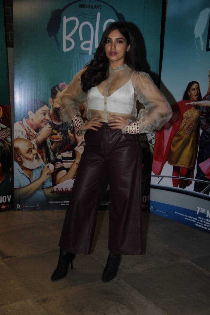 Ayushmann Khurrana, Bhumi Pednekar & Yami Gautam snapped promoting their film 'Bala' Photos