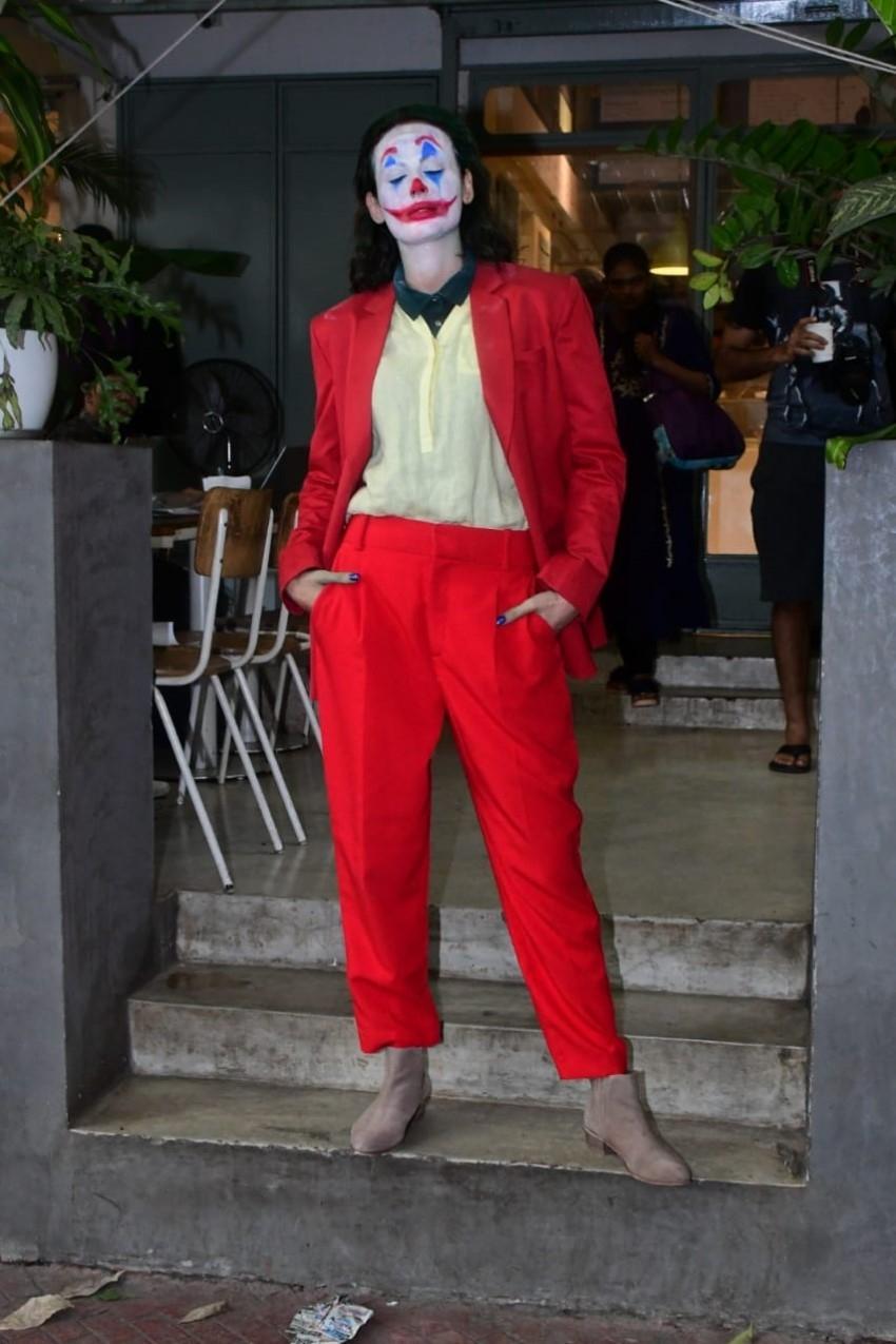 Mandana Karimi as a Joker for Halloween snapped at Kitchen Garden in Mumbai Photos