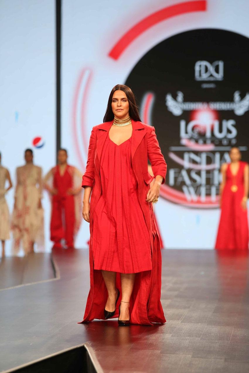 Neha Dhupia Walks The Ramp At Lotus Fashion Week 2019 Photos
