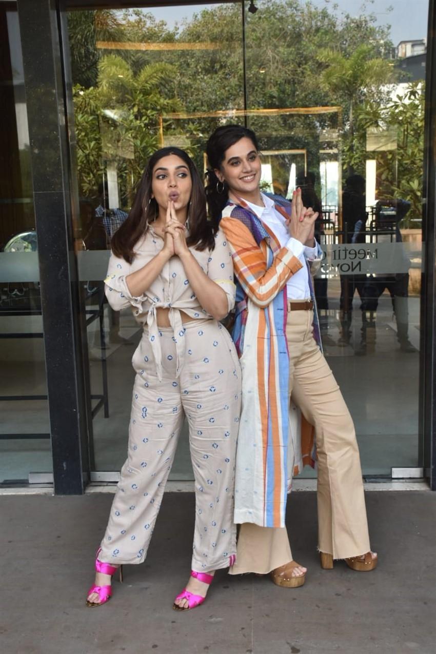 Taapsee Pannu & Bhumi Pednekar snapped promoting their film 'Saand Ki Aankh' in Mumbai Photos