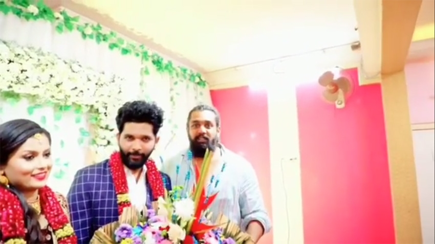 Action Prince Dhruva Sarja At Tik Tok Fame Allu Raghu And Sushmitha Sheshagiri Marriage Photos
