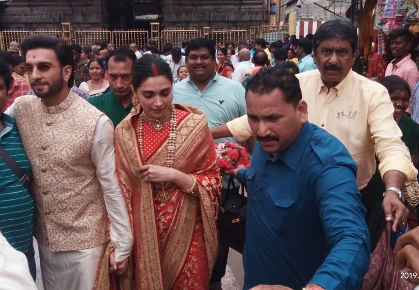 Deepika Padukone & Ranveer Singh at Tirupati Temple on their first Wedding Anniversary Photos