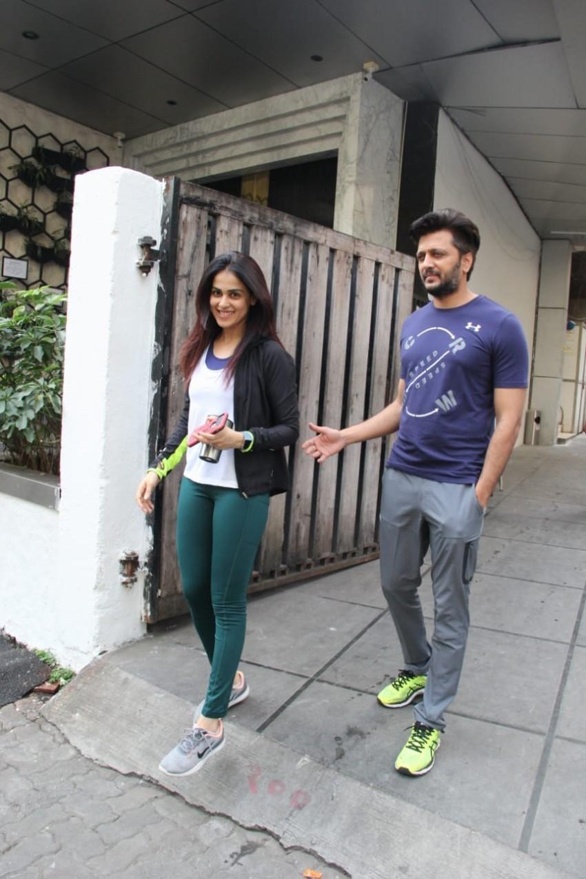 Riteish Deshmukh and Genelia D'souza snapped at gym in Mumbai Photos