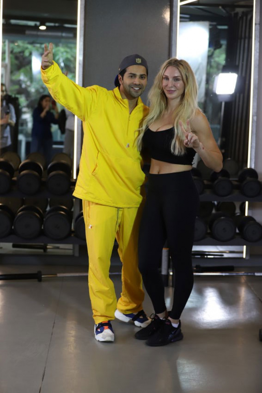 Varun Dhawan with WWE super star Charlotte Flair snapped at gym Photos