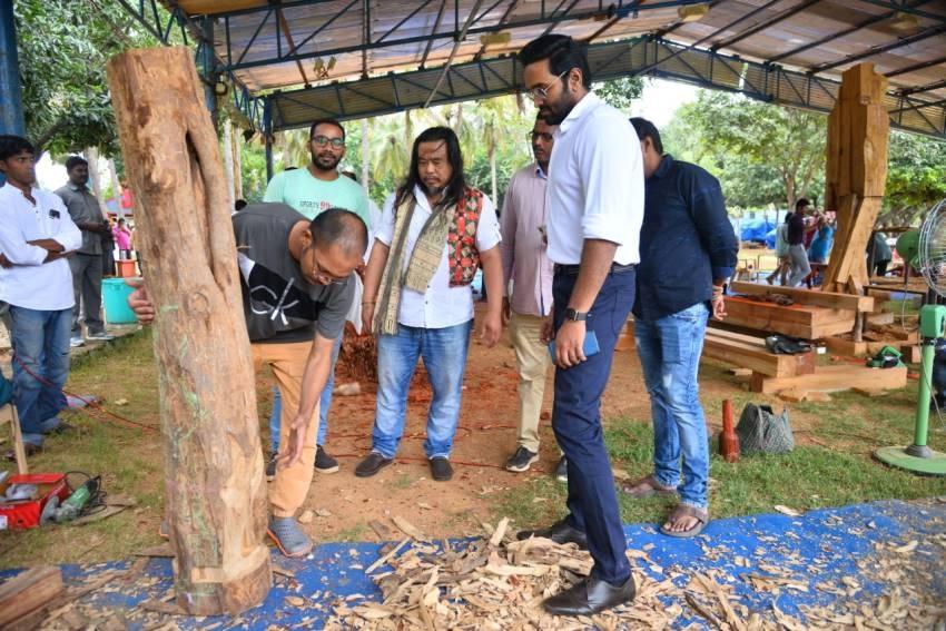 "Vishnu Manchu to host India's 36 Celebrated Wood Carving Artists Live Work ""Jnana' in Tirupati Photos"