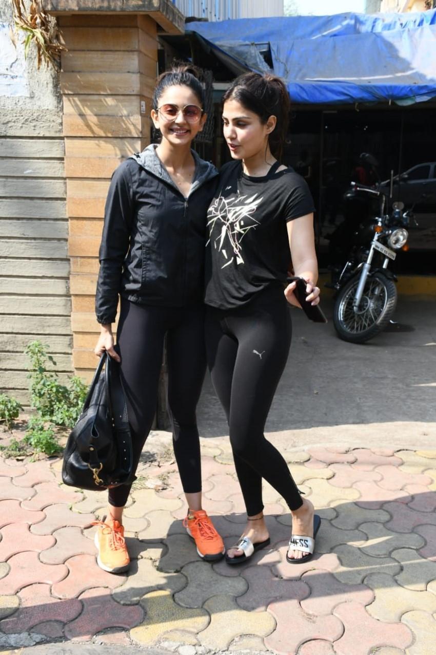 Rhea Chakraborty & Rakul Preet Singh spotted at Gym in Mumbai Photos