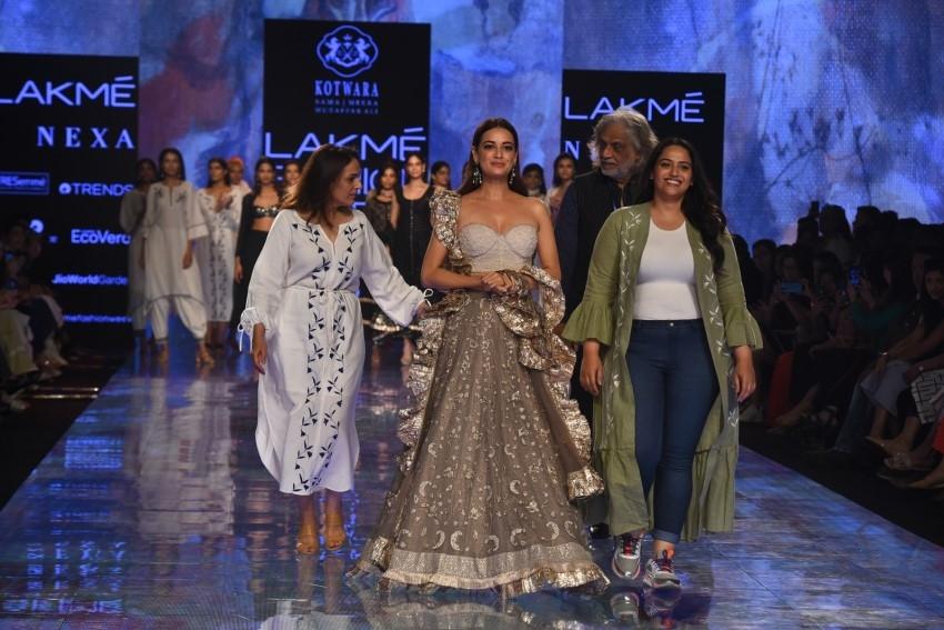 Dia Mirza walks the Ramp at Lakme Fashion Week 2020 Photos