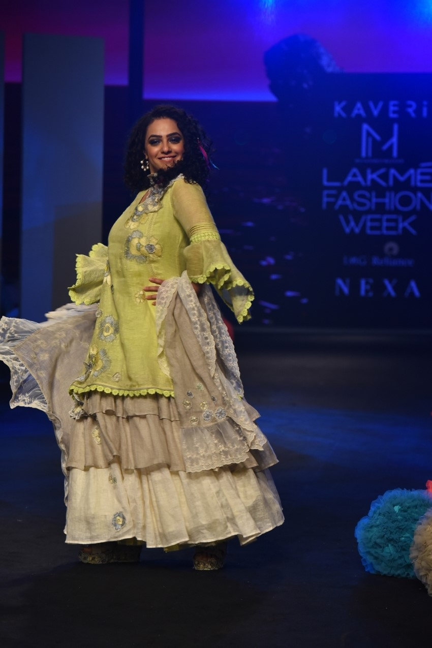 Nitya Menon walks the Ramp at Lakme Fashion Week 2020 Photos
