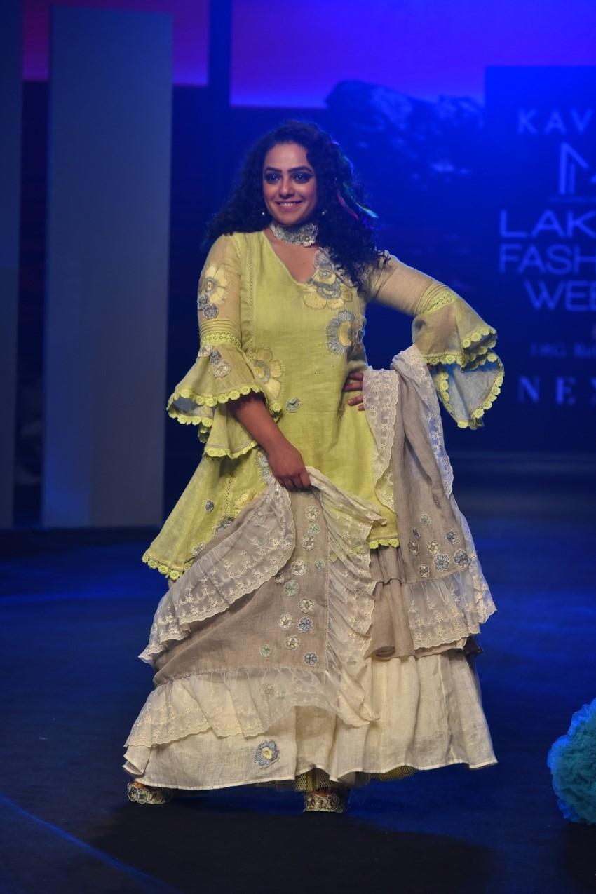 Nitya Menon walks the Ramp at Lakme Fashion Week 2020 Photos