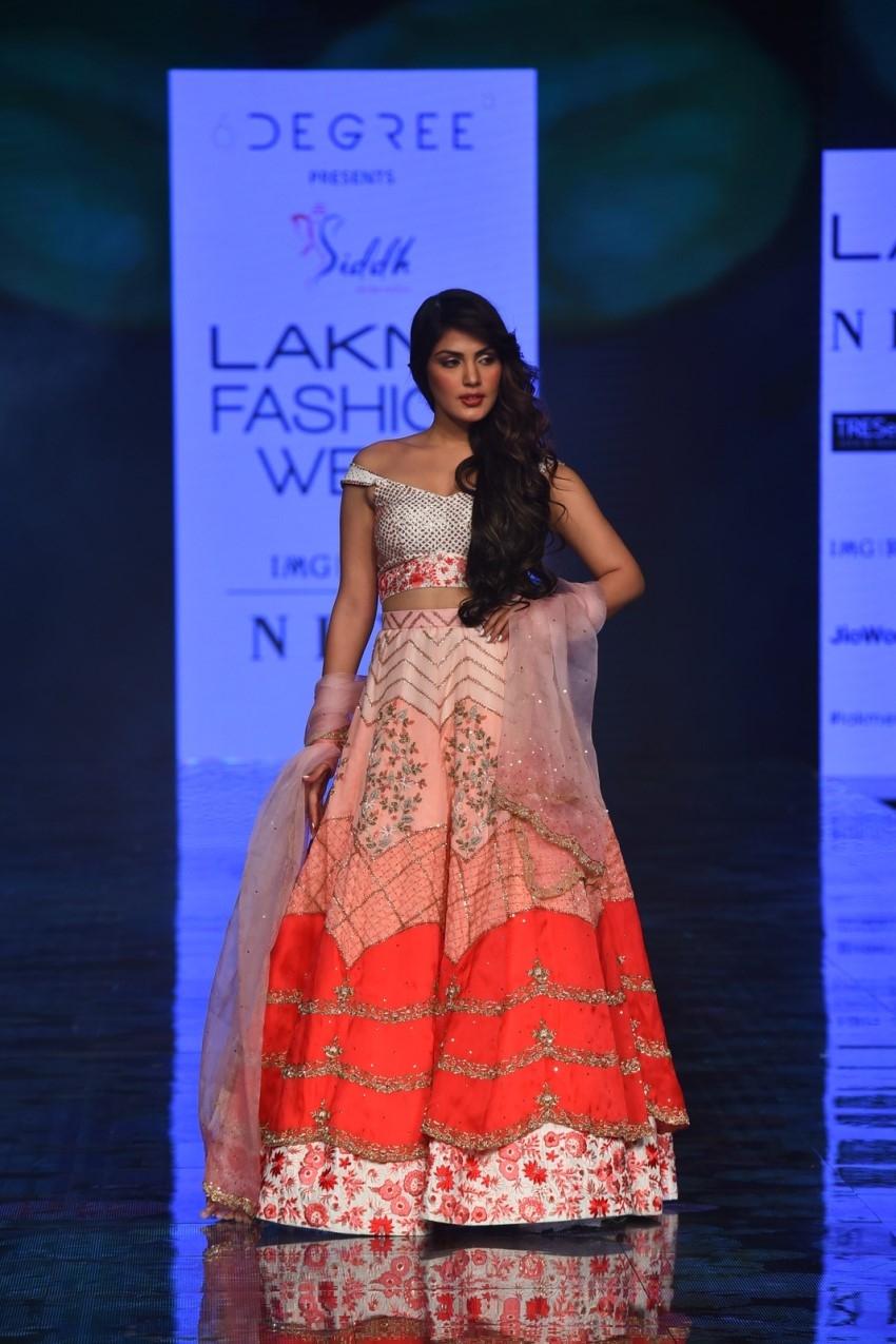 Rhea Chakraborty walks the Ramp at Lakme Fashion Week 2020 Photos