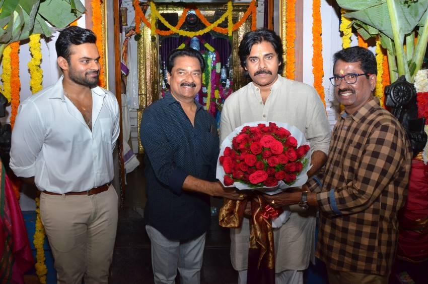 Pavan Kalyan Sounded Clap For Sai Tej's New Movie Muhurath Shot Photos