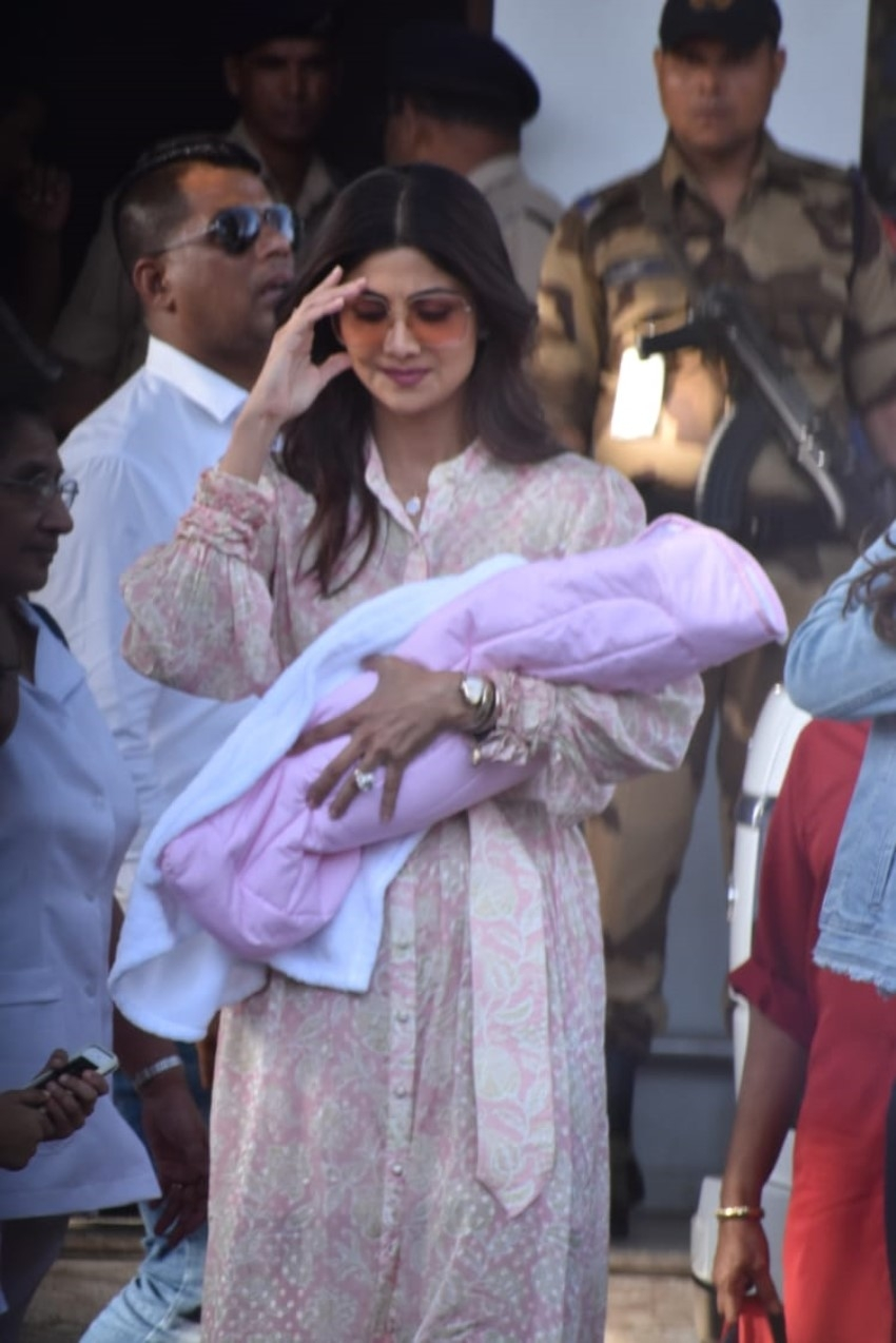 Shilpa Shetty, Raj Kundra with son and newly born daughter at Mumbai's Private Kalina Airport Photos