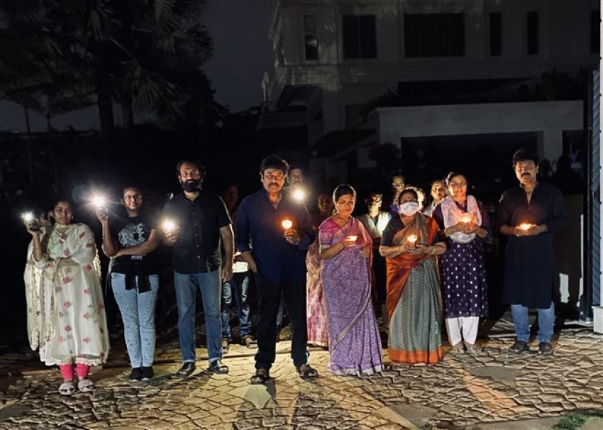 Chiranjeevi Wth Family Light Candle To As India Fight Against Corona Virus Photos