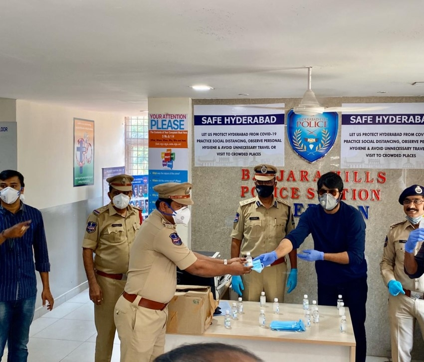 Srikanth Distributed Masks and Sanitizers at Banjara Hills Police Station Photos