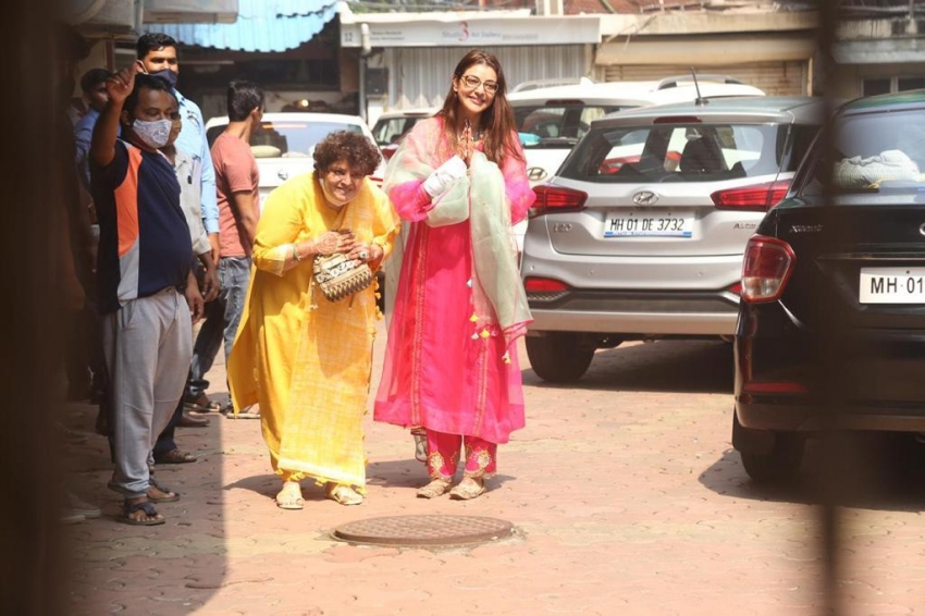 Kajal Aggarwal Snapped Leaving her Residence for her big day Wedding Photos