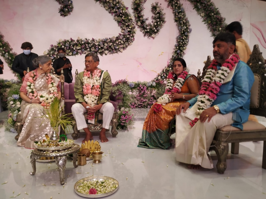 DK Shivakumar's Daughter And CCD Founder VG Siddhartha's Son Engagement Photos