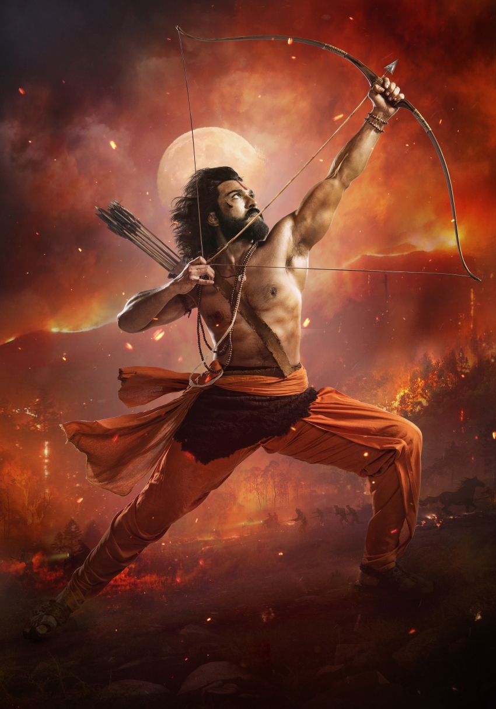 Mega Power Star Ram Charan as fiercest Alluri Sita Ramaraju Photos