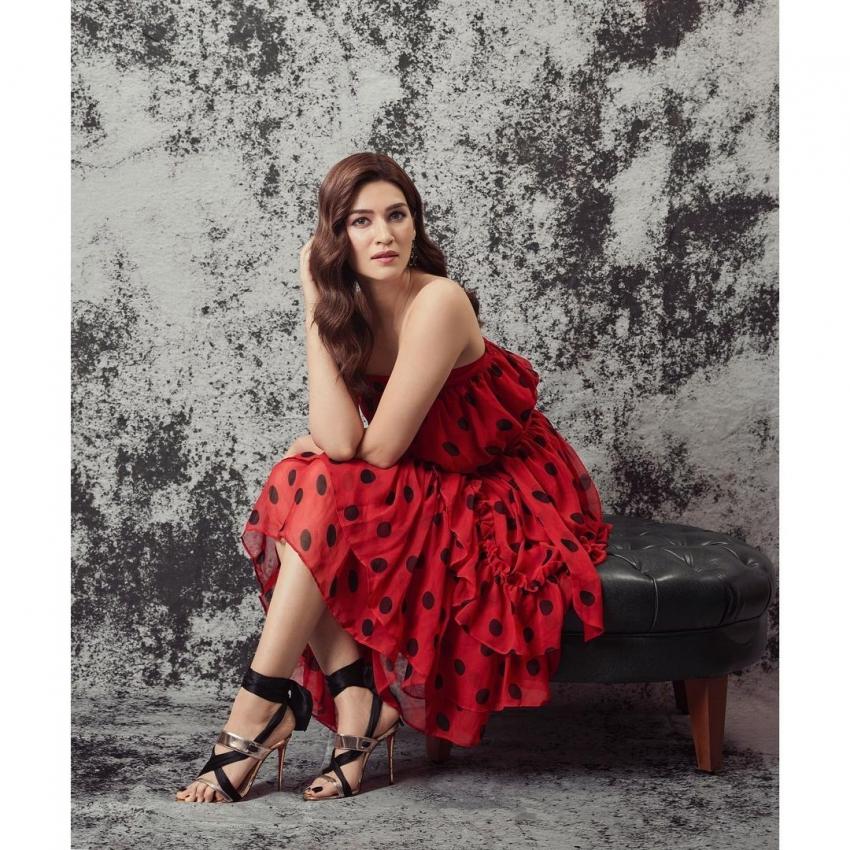 Mimi Star Kriti Sanon Slays In Red Polka Dress Photos